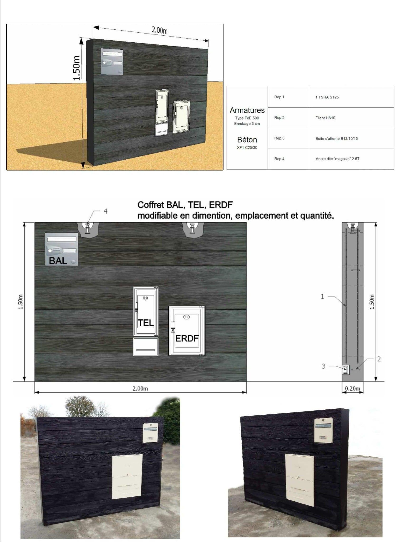 Muret technique matrice bois